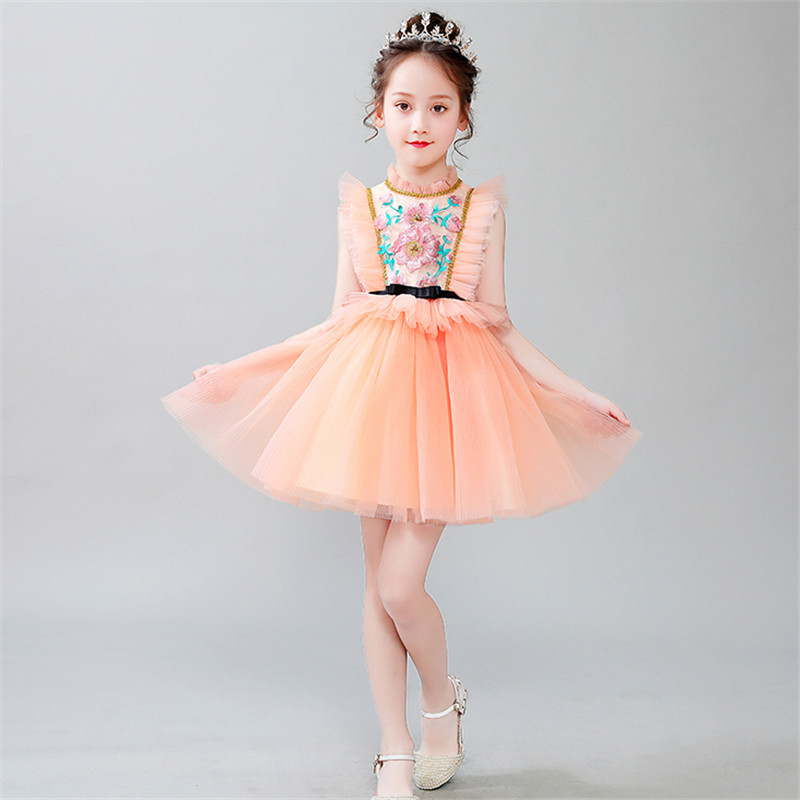 Baby Kids Elegant Embroidery Flowers Birthday Wedding Party Princess Prom Mesh Dress Little Girls Host Costume Tutu Piano DressBaby Kids Elegant Embroidery Flowers Birthday Wedding Party Princess Prom Mesh Dress Little Girls Host Costume Tutu Piano Dress