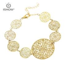 Retro vogue Girls copper Sheet Plated Gold Silver Bracelet Chain Flowers Leaves spherical Hole Bracelet Watch Jewellery Presents