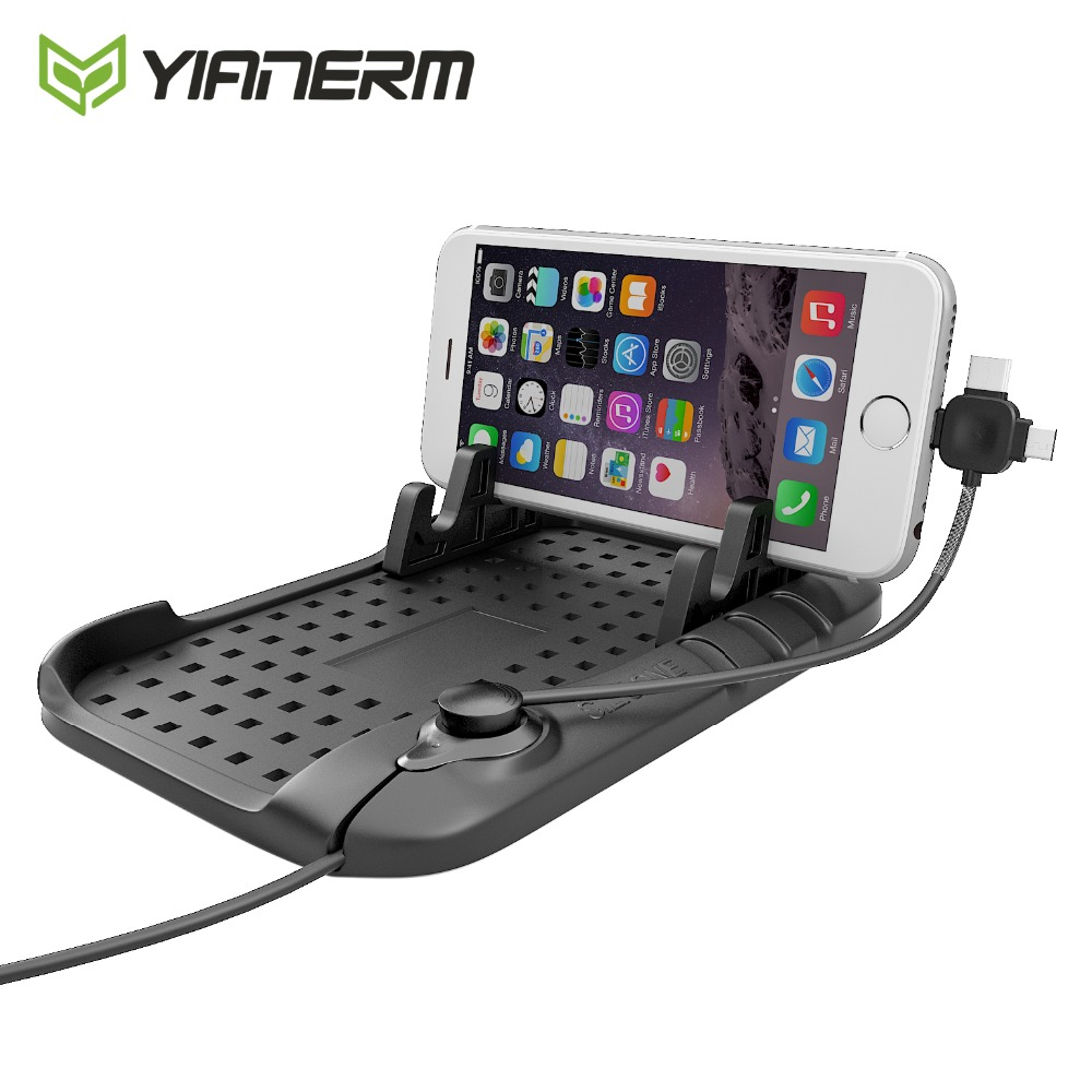 Yianerm Protiskluzový silikonový držák pro telefon v autě 3 v 1 pulg pro iPhone Android Typ-C Magnetický nabíjecí kabel Kabelový stojan