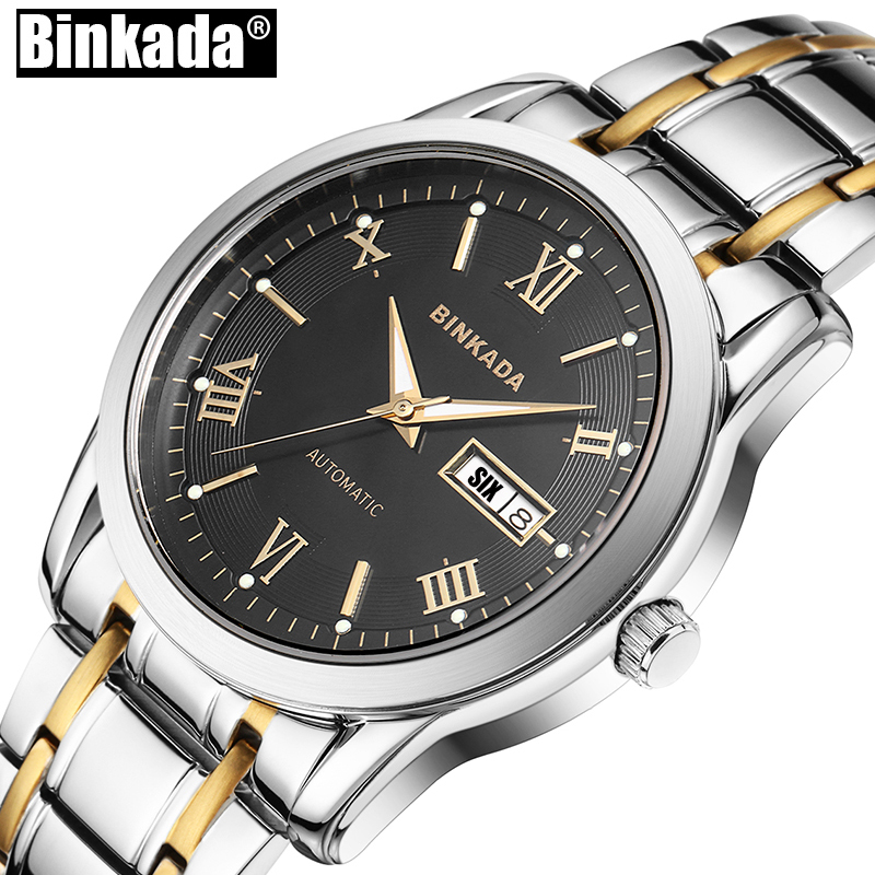 Simple Mens Watch Top Brand Luxury Wrist watches Business Automatic Mechanical New Fashion Men BINKADA Casual Watch Clock 2017 new fashion men binkada top brand gold luxury wristwatches self wind automatic mechanical calendar leather watch clock