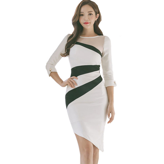 241e408cf12 Trend 2018 Bodycon Dresses Lace Pin Up Mesh Stripes Patchwork  Irregularities Sexy Dress White Bodycon Short Dress Vestido Curto