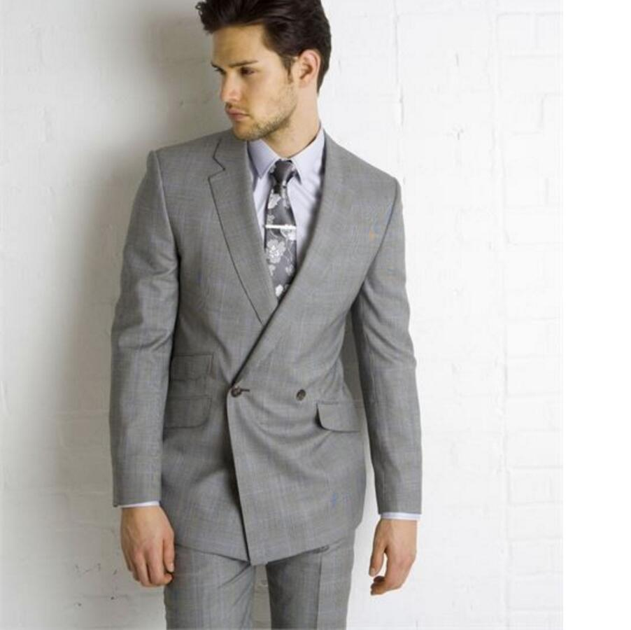 Grey Wedding Suits For Men double breasted Lapel Groomsmen Tuxedos Mens Suits Slim Fit Groomsmen Suit