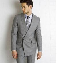 Grey Wedding Suits For Men double-breasted Lapel Groomsmen Tuxedos Mens Suits Slim Fit Groomsmen Suit (Jacket+Pants)