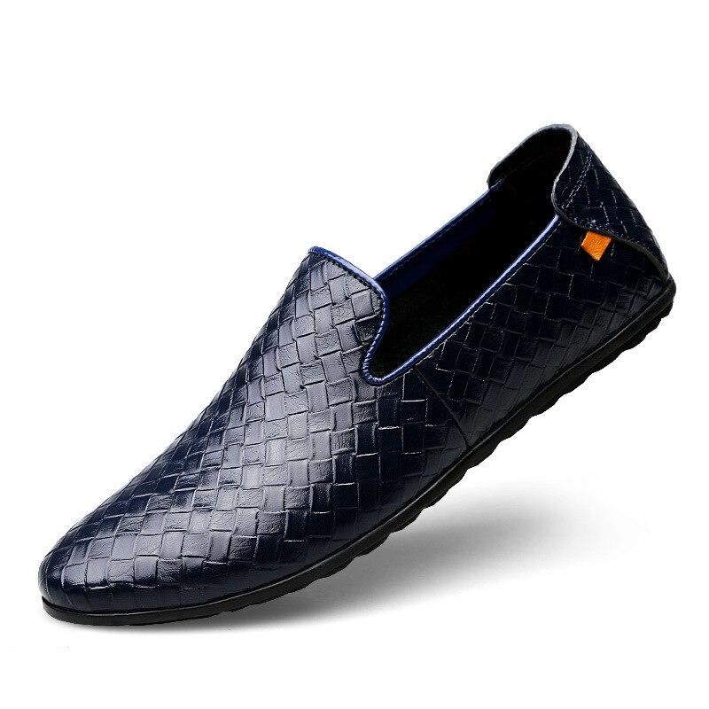 Respirável Loafer Casual De Plana 2018 Preto Sola Slip Mens Condução Couro 3745 Macia Novos On Sapatos azul marrom Homens Mocassins qzqWSwRgP