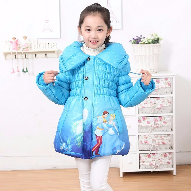 windbreaker for girls new Children's Coat Cute Girls Warm Winter Parka Children Cotton Elsa Jacket thick Cotton-Padded Clothes winter chinese style retro frog contrast color frog and print jacket coat cotton padded jacket windbreaker