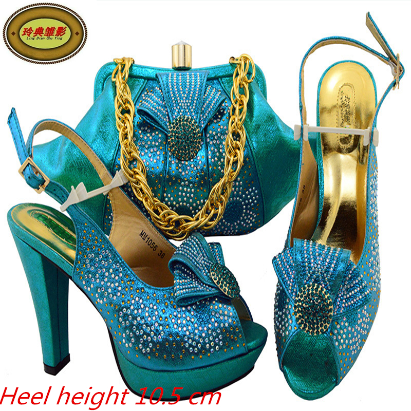 MM1056 2018 New Fashion African High Heel Shoes And Bag Set Beautiful Design European Ladies Slipper And Bags Sets For Wedding