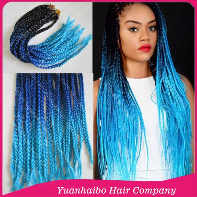 New Arrival 22inch Three Tone Synthetic Long Braid Hair Blue Ombre