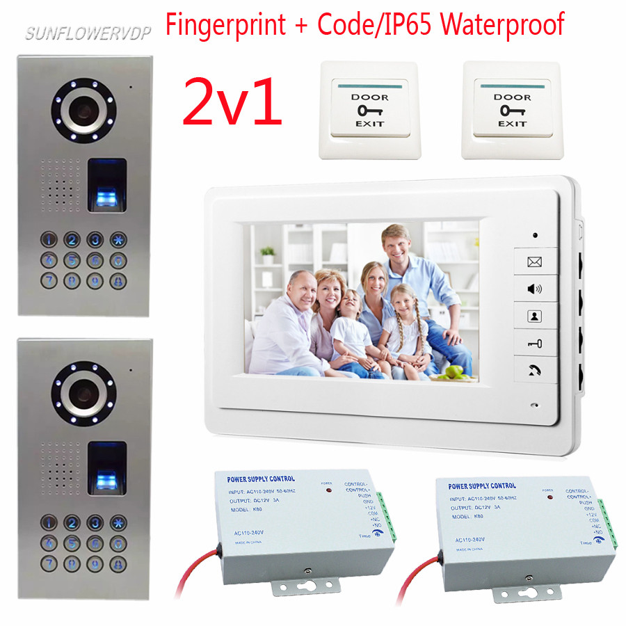 Vdeo Door Bell Fingeprint Password Unlock Video Call For The Entrance Door 2 Cameras Home Video Phone IP65 Waterproof Intercom wireless service call bell system popular in restaurant ce passed 433 92mhz full equipment watch pager 1 watch 7 call button