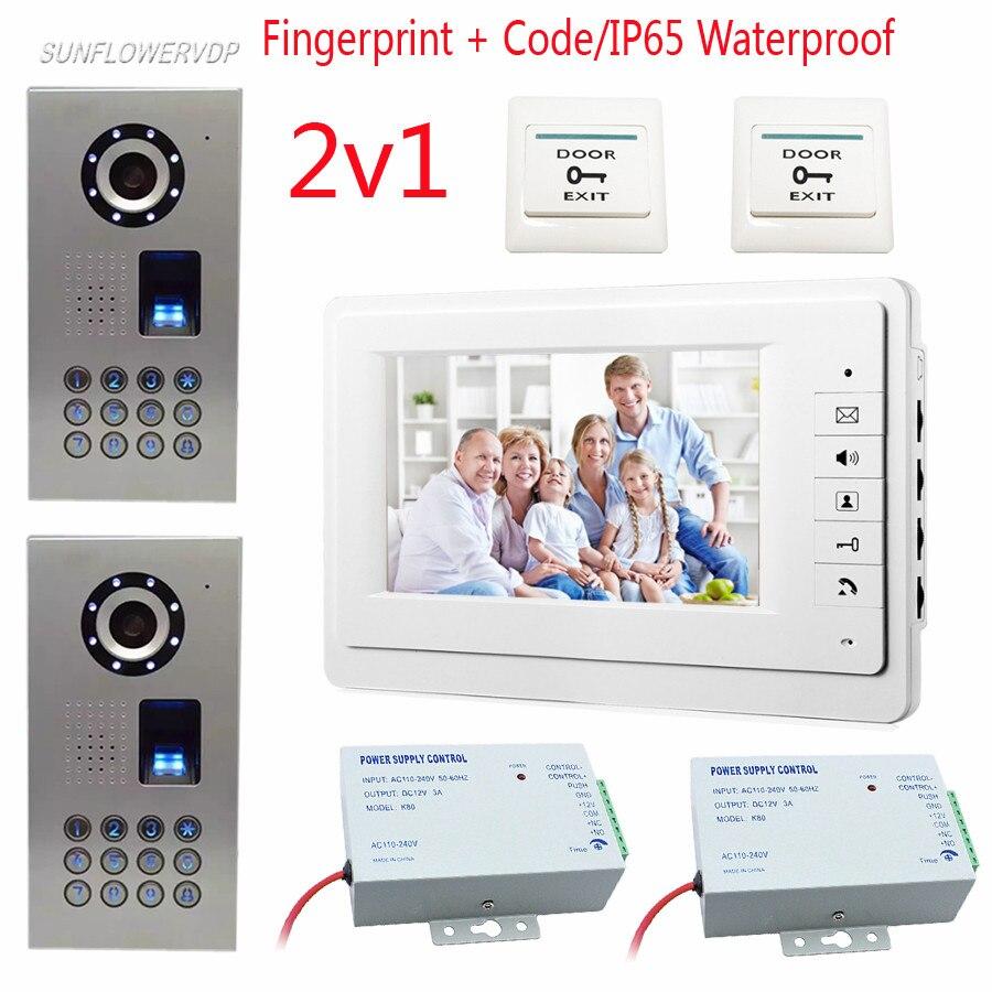 Vdeo Door Bell Fingeprint Password Unlock Video Call For The Entrance Door 2 Cameras Home Video Phone IP65 Waterproof Intercom
