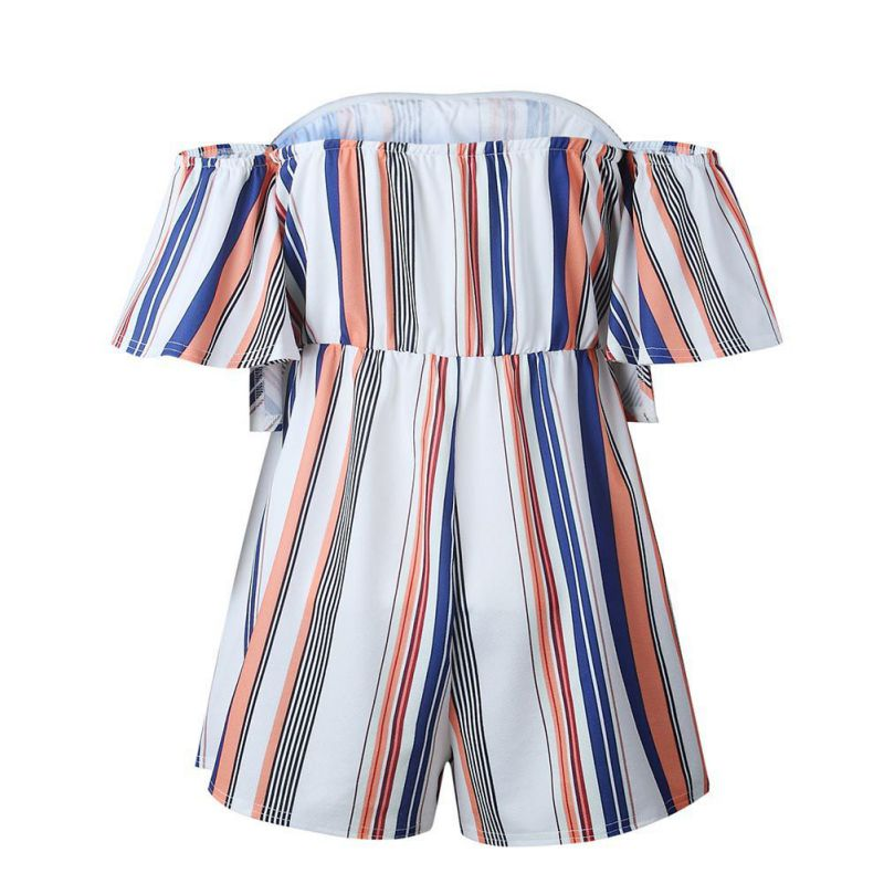 Female Off the Shoulder strapless Playsuit Women Striped Jumpsuit Summer Short pleated Overalls Jumpsuit