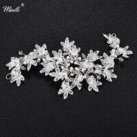 Miallo Silver Pearl Bridal Hair Combs Handmade Crystal Beads Wedding Hair Sticks Leaves Hair Accessories HS