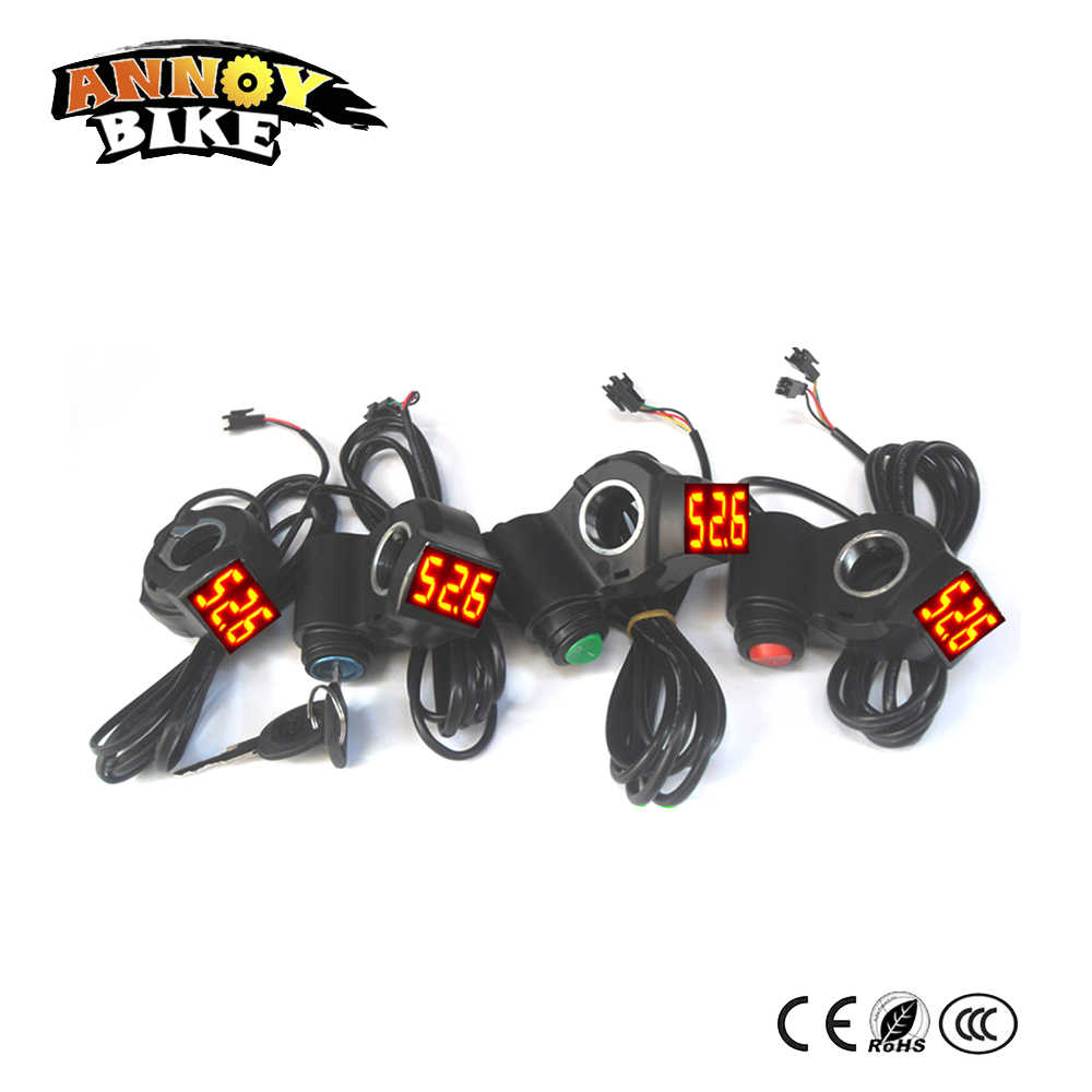 Electric Bike Battery Voltage Display 24V36V48V60V Show 3 speed Horn Power Lock Key Bicicleta Electrica Scooter Accessories