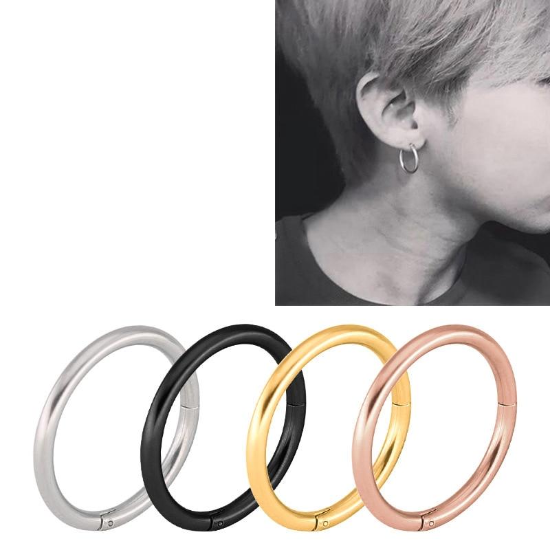 HENGKE Segment Nose Hoop Rings Septum Clicker Nose Piercing Buckle round Earrings Jewelry New Stainless Steel
