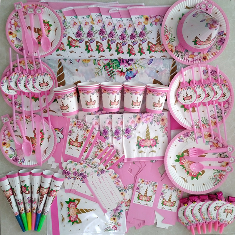 Girl Birthday Party Pink Unicorn Paper Plate Cup Napkin Disposable Tableware Sets Baby Shower 1st First Birthday Party Supplies