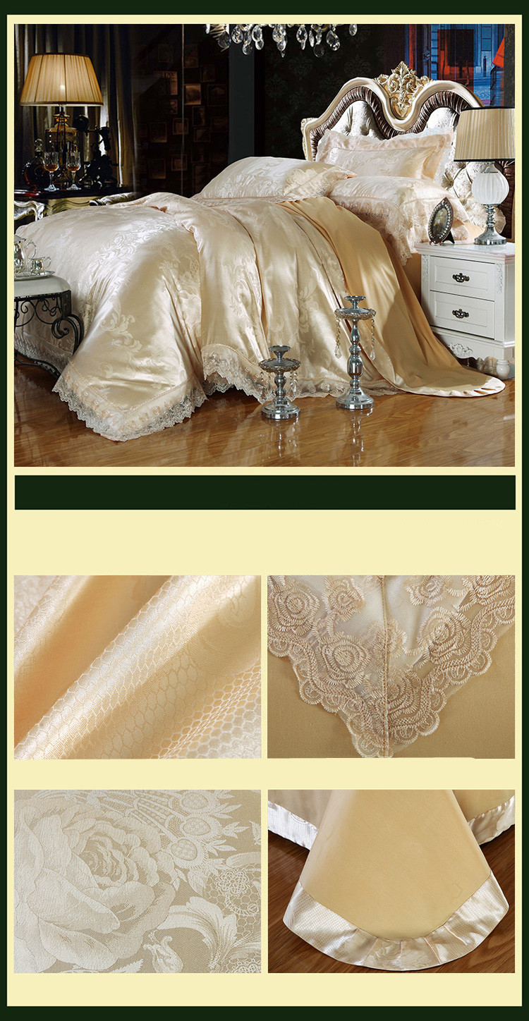 New Luxury Embroidery Tinsel Satin Silk Jacquard Bedding Set, Queen, King Size, 4pcs/6pcs 16