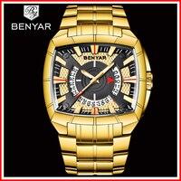 2019 BENYAR Роскошные Брендовые спортивные часы для мужчин Стальные кварцевые часы модные мужские водонепроницаемые военные золотые часы мужск
