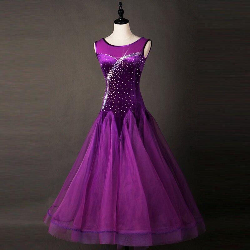 Здесь продается  Ballroom Dance Dresses Adult 2018 Women Elegant Dark Purple Waltz Dancing Skirt Standard Ballroom Competition Dance Costume   Одежда и аксессуары