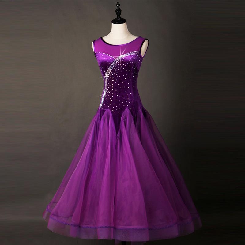 eb05dd0f6e Ballroom Dance Dresses Adult 2018 Women Elegant Dark Purple Waltz Dancing  Skirt Standard Ballroom Competition Dance