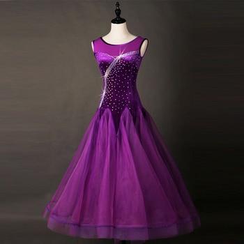99dbeebfb3 Vestidos de baile de salón para adultos 2018 mujeres elegante púrpura  oscuro bailando vals estándar falda Ballroom competencia traje de la danza