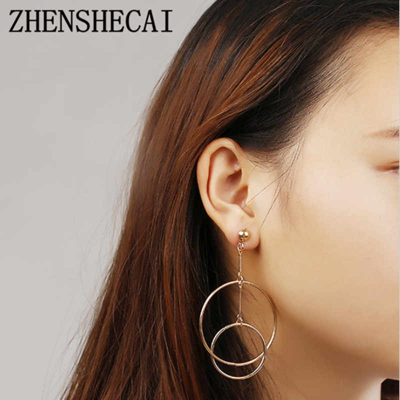 Round Earring circle design overlap fashion jewelry for women drop earring geometric wedding party earring wholesale