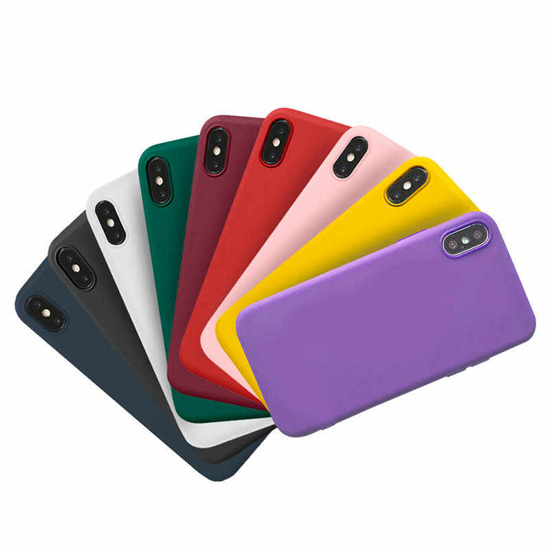Matte Silicone Shockproof Case for iphone 6 Cover Coque Candy Color Phone Case for iphone6 6S 7 8Plus XS Max XR X Full Protector
