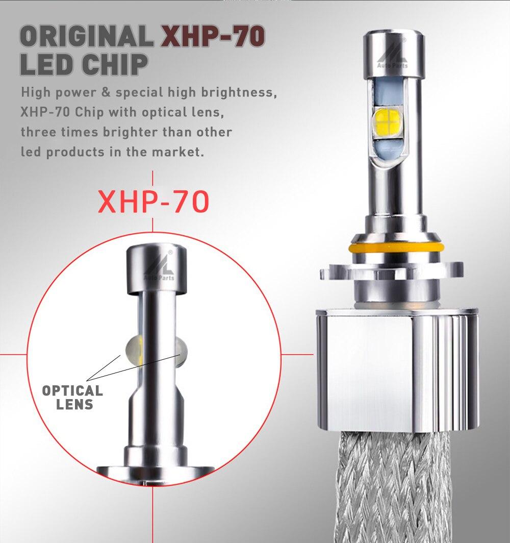 Xenplus H7 светодиодные лампы 110 Вт 13200lm 12V Cree XHP70 чипы L7 авто фары H4 H11 D2S HB3 HB4 9004 9007 H13 супер яркий светодиодный светильник - 3
