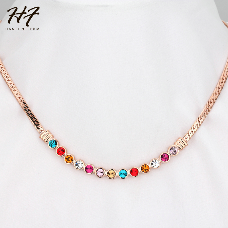 Top Quality Candy Colors Crystal Rose Gold Color Fashion Necklace Jewelry Made with Austria Crystal Wholesale N353 N497