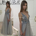 Saudi Arabia Evening Dresses Shinning Deep V Neck Backless Sexy Prom Dresses Vestito Da Sera High Slit Dresses For Graduation