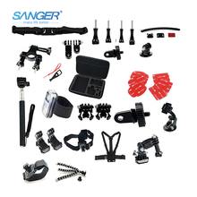 SANGER for Gopro Accessories Kit Head Chest Mount Floating Monopod 21 In 1 for XIAOMI YI Action Camera Go pro Hero 5 4 3+ SJcam