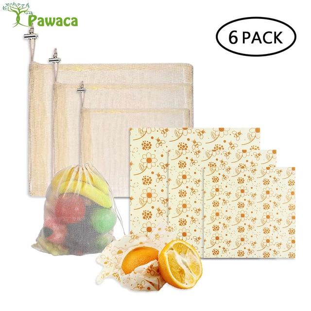3pcs Beeswax Wrap Cloth + 3Pcs Degradable Organic Cotton Mesh Storage Bag Eco Friendly Reusable Food Fresh Keeping Sets 1