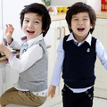 2016 Весна Детская Одежда Мужчины Ребенок Мальчик Случайные Сплошной Цвет V-образным Вырезом Жилет