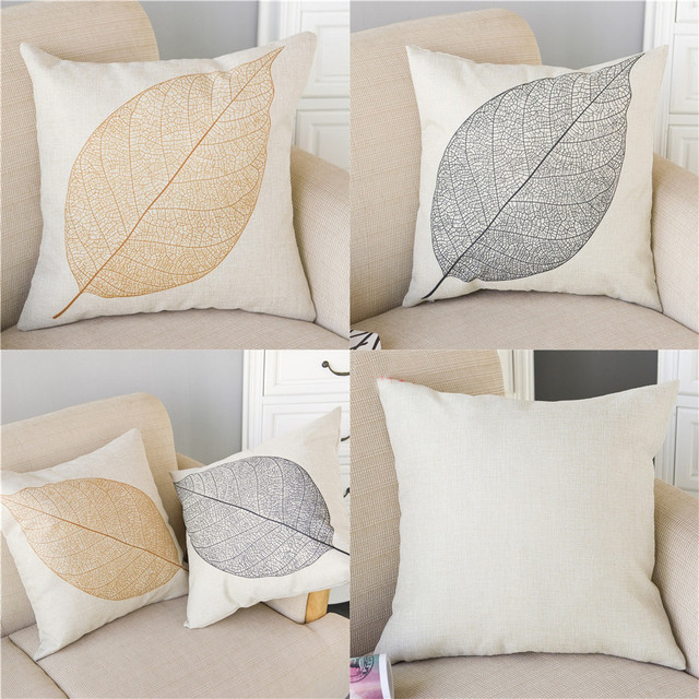 Leaf Printed Throw Pillow Cover Without Filling Car Chair Sofa Seat Back  Cushion Case Pillowcase Pillowslip