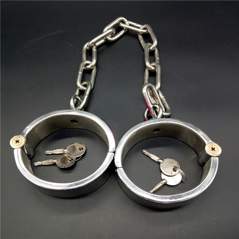 Bdsm women/men stainless steel oval ankle cuffs bondage restraints shackles leg irons slave fetish sex tools toys for adults leather metal bondage harness hand ankle cuffs leg irons bdsm slave wirst restraints shackles handcuffs legcuffs sex games toys