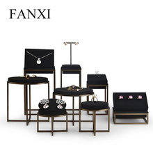FANXI  New Metal Jewelry Display Stand Set Ring Necklace Bracelet Display Holder Shelf Black Leather Jewelry Organizer Showcase fanxi new metal shelf rose gold earring display stand pendant holder rack jewelry display stand showcase jewelry organizer