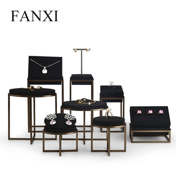 FANXI  New Metal Jewelry Display Stand Set Ring Necklace Bracelet Holder Shelf Black Leather Organizer Showcase
