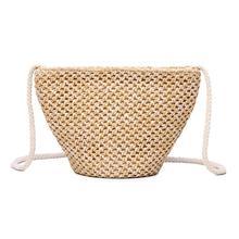 Mini Straw Rattan Made Handbag Woven Bag Beach Holiday Natural Crossbody Storage Fresh Simple Single Shoulder Messenger Bags