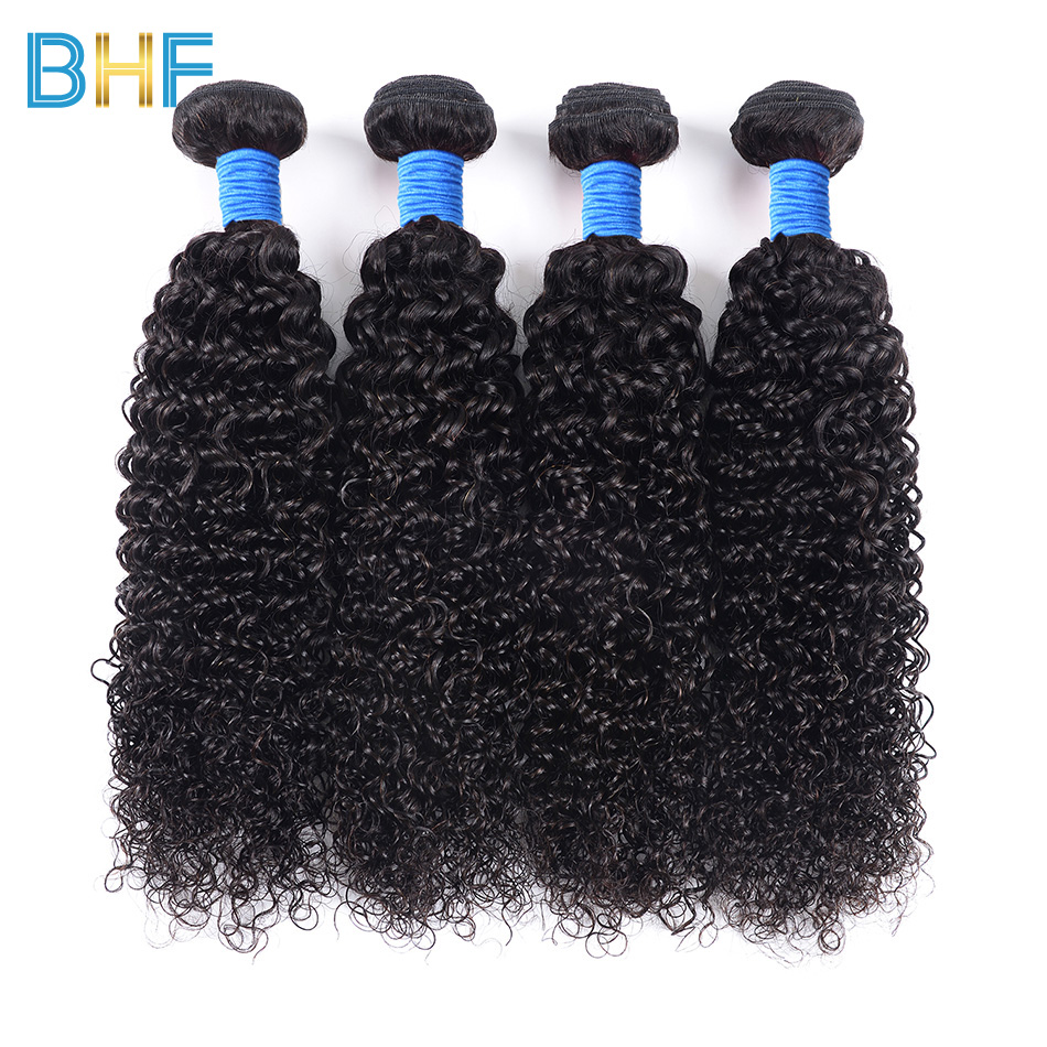 BHF Indian Kinky Curly Weave Human Hair 4 Bundles 100G/Pc Natural Color One Donor One Bundle Raw Indian Virgin Hair Extensions