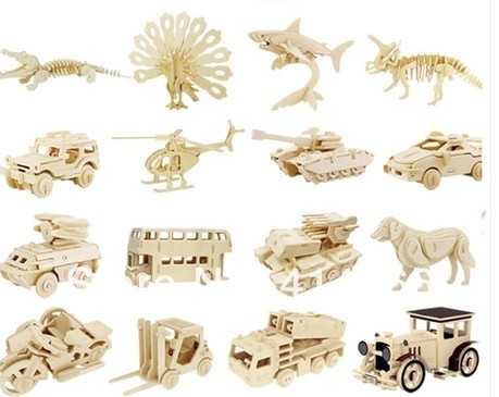unfinished 3d animal car wooden toys puzzle for kids model building kits art craft toy for children