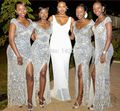 Sequin lace bridesmaid dresses silver color vestido de festa Wedding Party Dress Gray Long Mermaid Bridesmaid Dresses