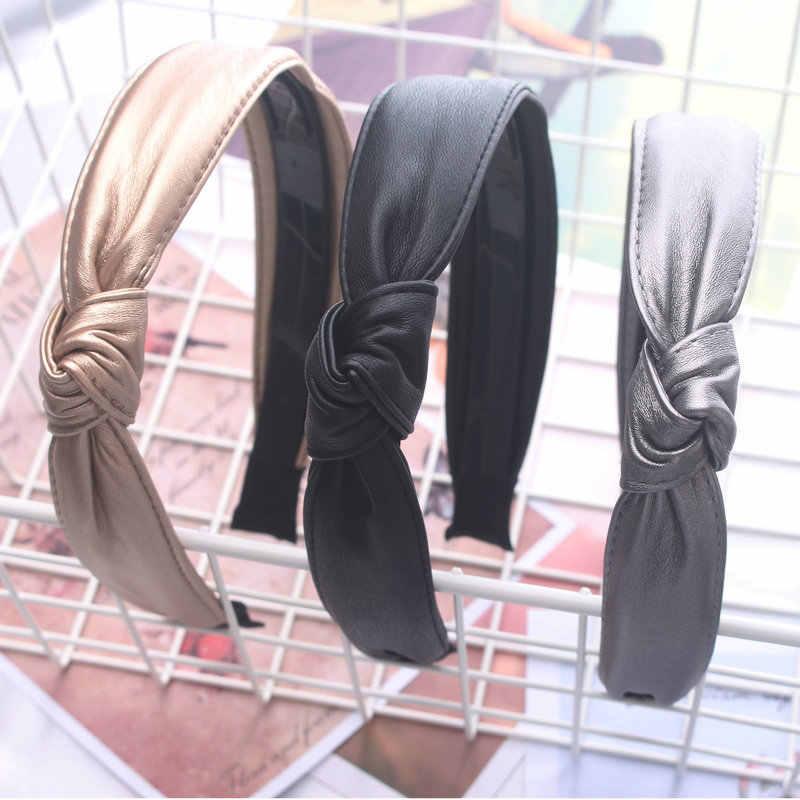 Корейский стиль, Женский кожзаменитель, повязка на голову, завязанная, твердая повязка ручной работы, милые ободок для волос, аксессуары