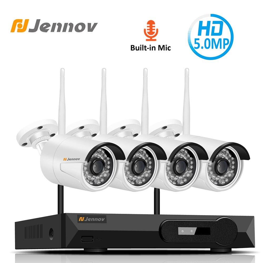 Jennov 4CH H.265 5MP En Plein Air Vidéo Surveillance caméra ip sans fil Système de caméra de sécurité Pour La Maison Wifi CCTV Ensemble kit nvr HD P2P