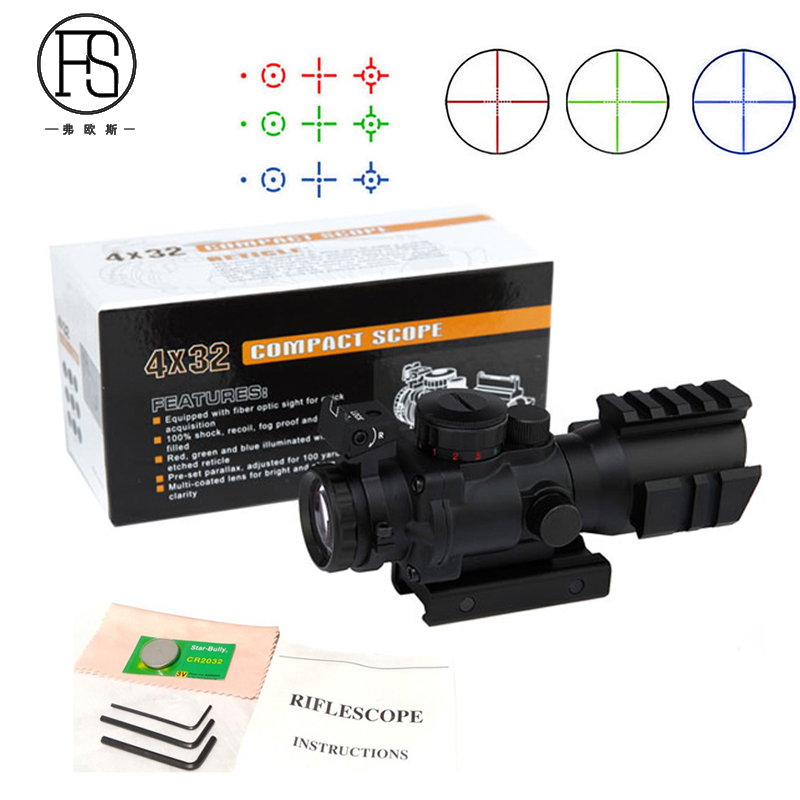 Tactical Hunting Rifle Scope 4x32 Military Shooting Reticle Sniper Sight Scope Optics Sight Hunting Equipment For 20mm Mount new arrival tactical discovery vt 3 4 16x44sfvf rifle scope for hunting bwr 096