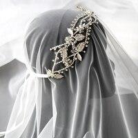 Jonnafe Shine Silver Color Bridal Tiara Headband Rhinestone Crystal Wedding Crown Hair Jewelry Handmade Women Prom Accessories