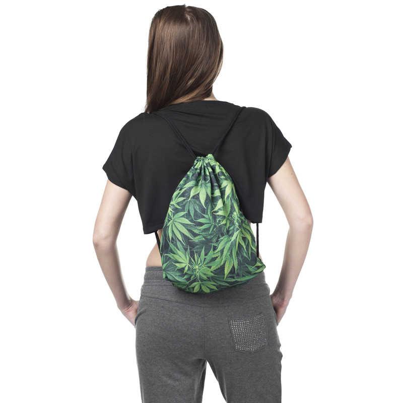 Новая мода для женщин зеленый лист шнурок рюкзак 3D печать путешествия Softback Сумка со шнурком сумки