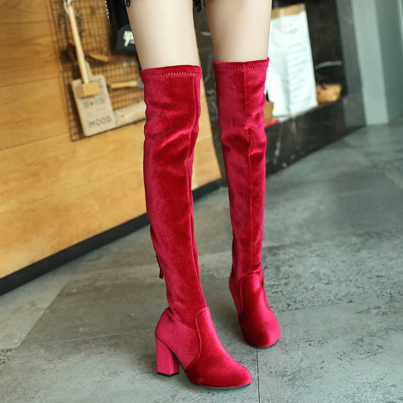 bd639174750 Chowaring 2019 Winter Red Blue Velvet Slim Female Over The Knee Boots High  Heels Women Booties