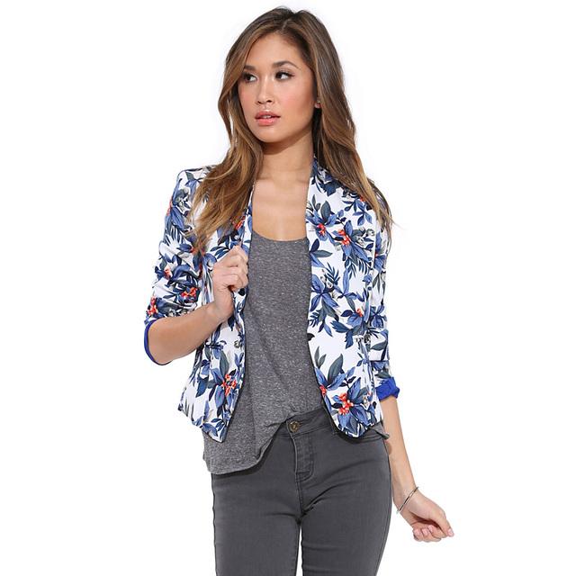 Primavera 2016 Mulheres Blazer Floral Da Cópia Da Flor V pescoço Terno Cardigan Jaqueta Plus Size XXL blazer feminino Y0824-66E
