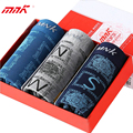 MNK Brand Men Boxers Shorts Thin Stretchy Men Underwears Gift Box 3pcs 4Colors Random Big Size Men Shorts Free Shipping