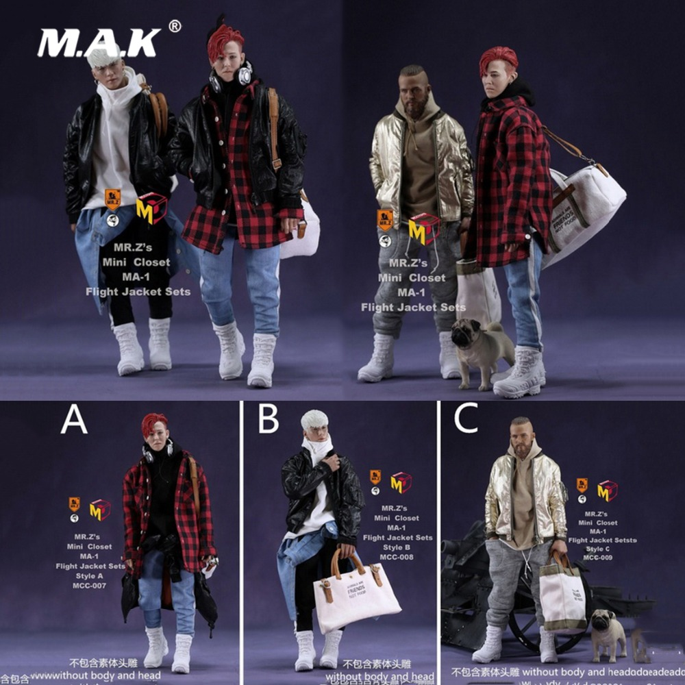 1/6 Fashion Custom Air Force Jacket set Punk jacket set with Canvas bucket bag F 12 Inches G-DRAGON male Body Action Figures