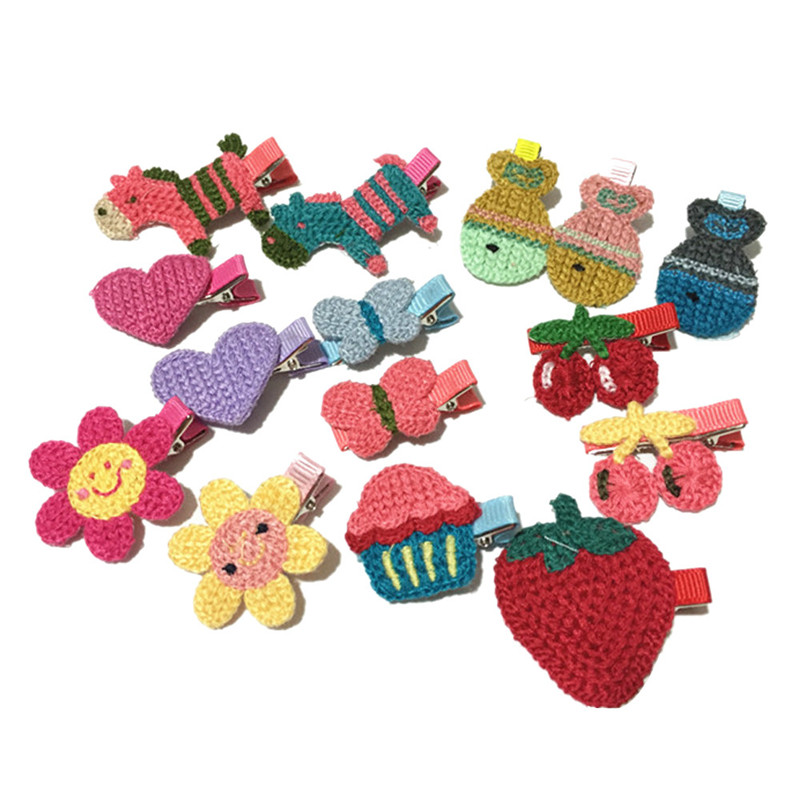 15pcs/set  Girls Hair Accessories Handmade Knitted Hair Clip Kids Children Hairpin Cartoon Headwear Amazing JL 16 8 pieces children hair clip headwear cartoon headband korea girl iron head band women child hairpin elastic accessories haar pin