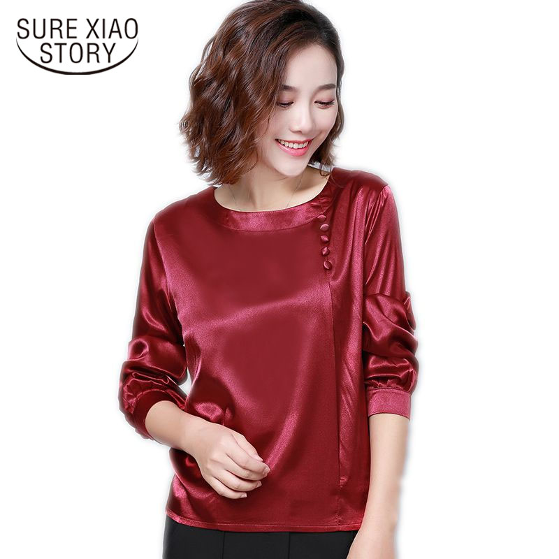 Fashion Autumn 2018 women   blouses   plus size Silk Women   blouses     Shirts   Female long-sleeved tops women 4XL blusa 1706 50